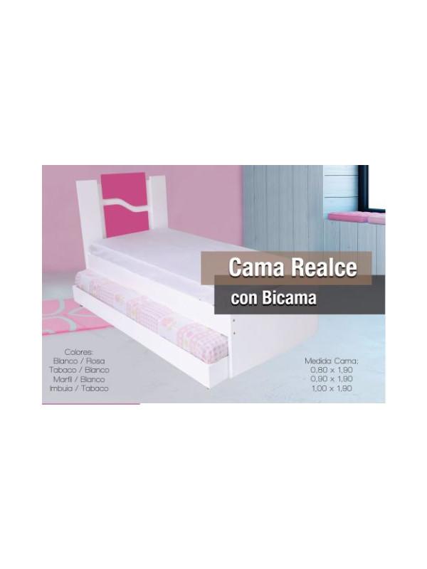 CAMA REALCE 0,90 CM CON BICAMA BL/ROJO